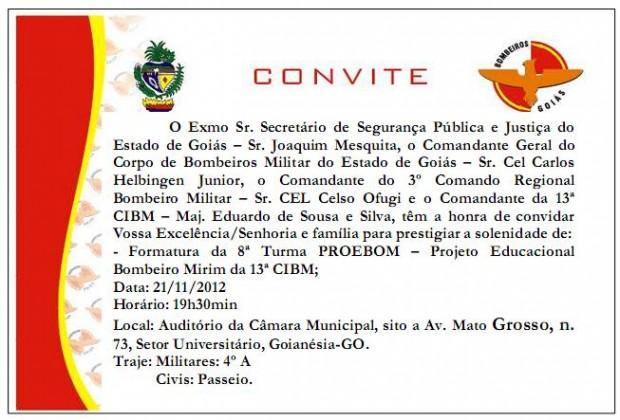 Convite de Formatura PROEBOM 13ª CIBM - Goianésia